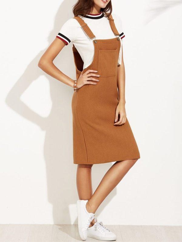Sleeveless pocket elastic midi dress