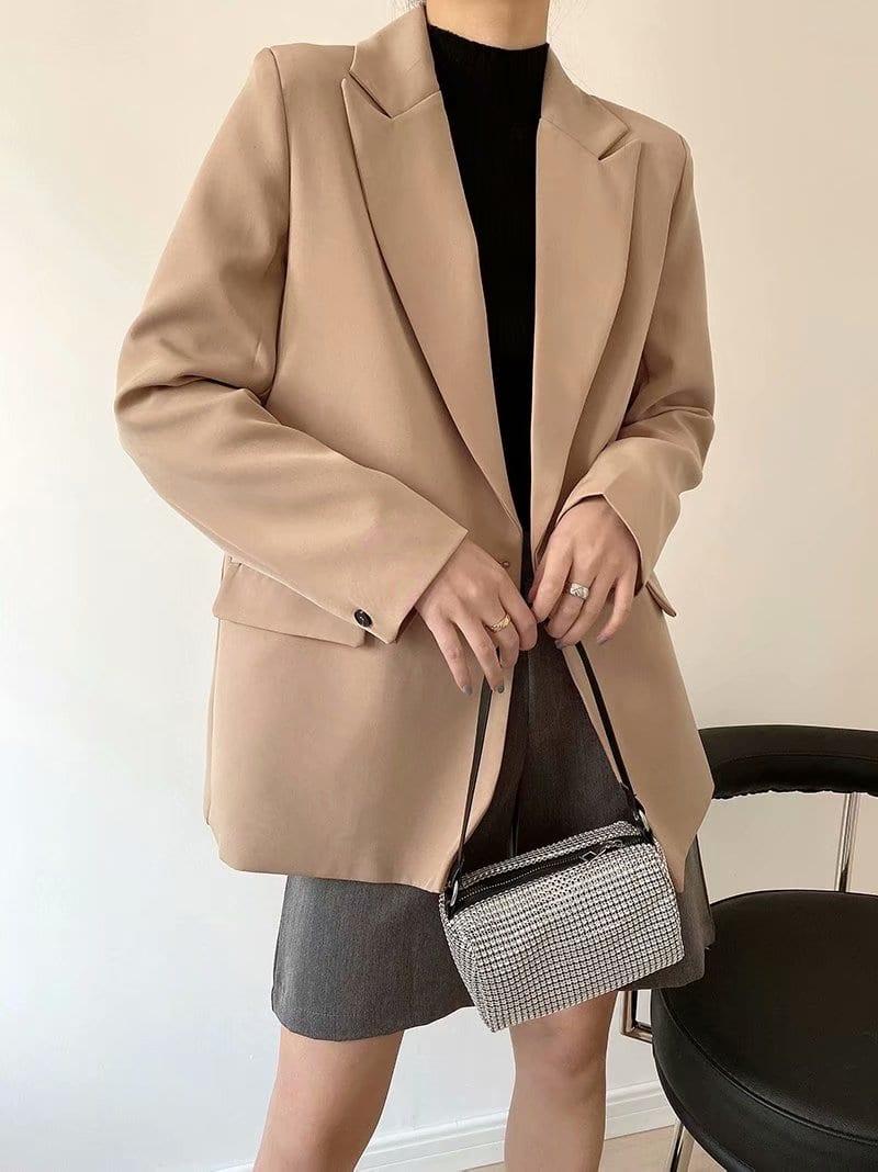 Chic double-breasted pocket decorative coat jacket