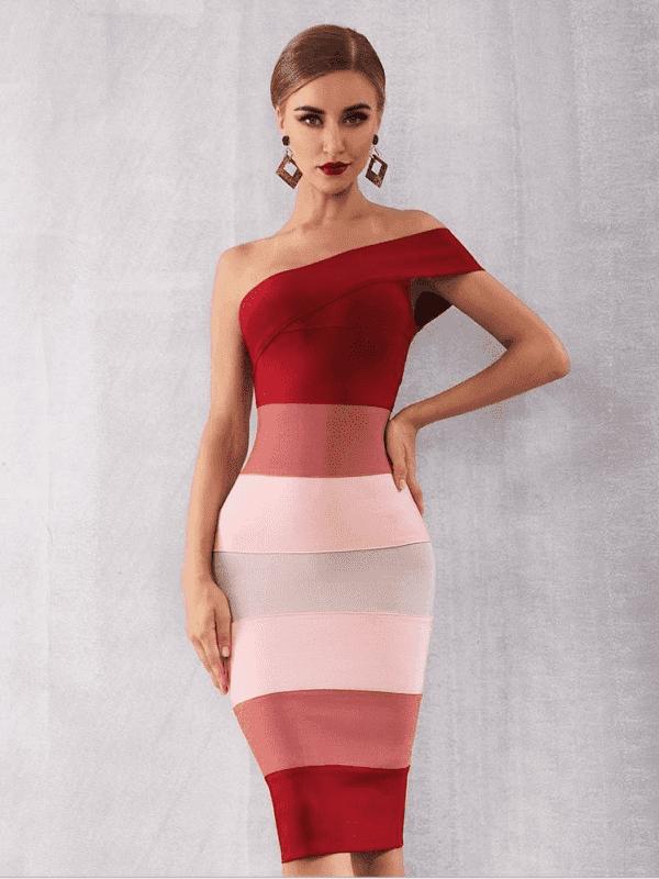One shoulder sleeveless mid-calf bodycon dress