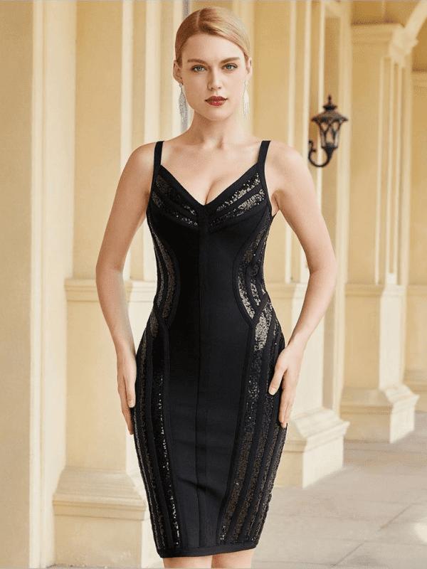 Black sequins v neck spaghetti strap  bandage dress