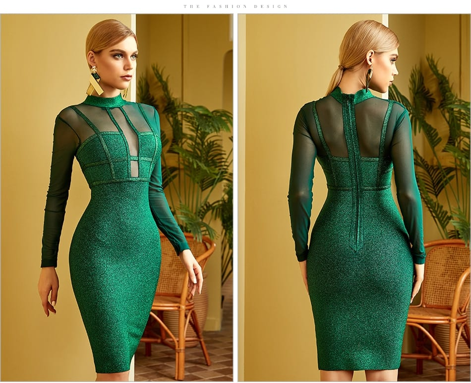 Green long sleeve lace hollow out midi bandage dress