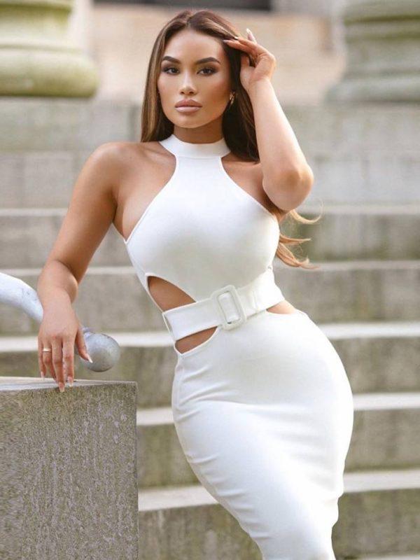 White halter hollow out sleeveless bodycon bandage dress