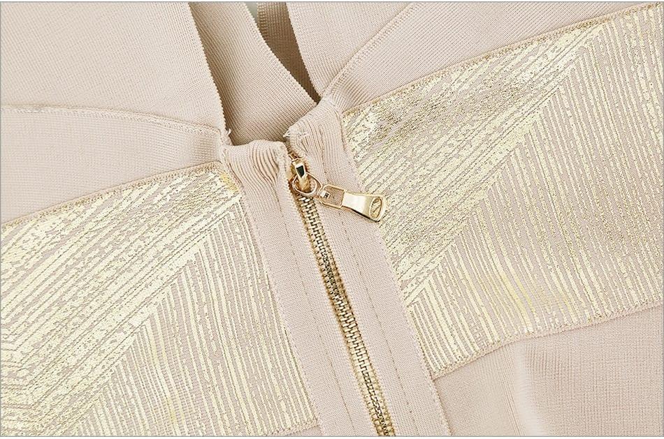Ruffles sleeveless v-neck front zipper bandage bodycon set