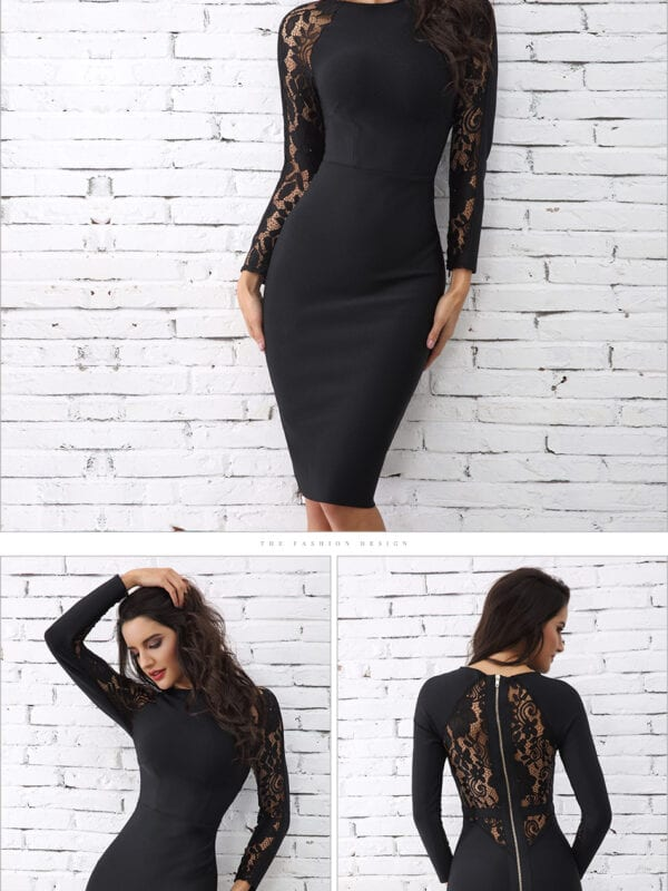 Elegant lace black floral long sleeve hollow out bandage dress