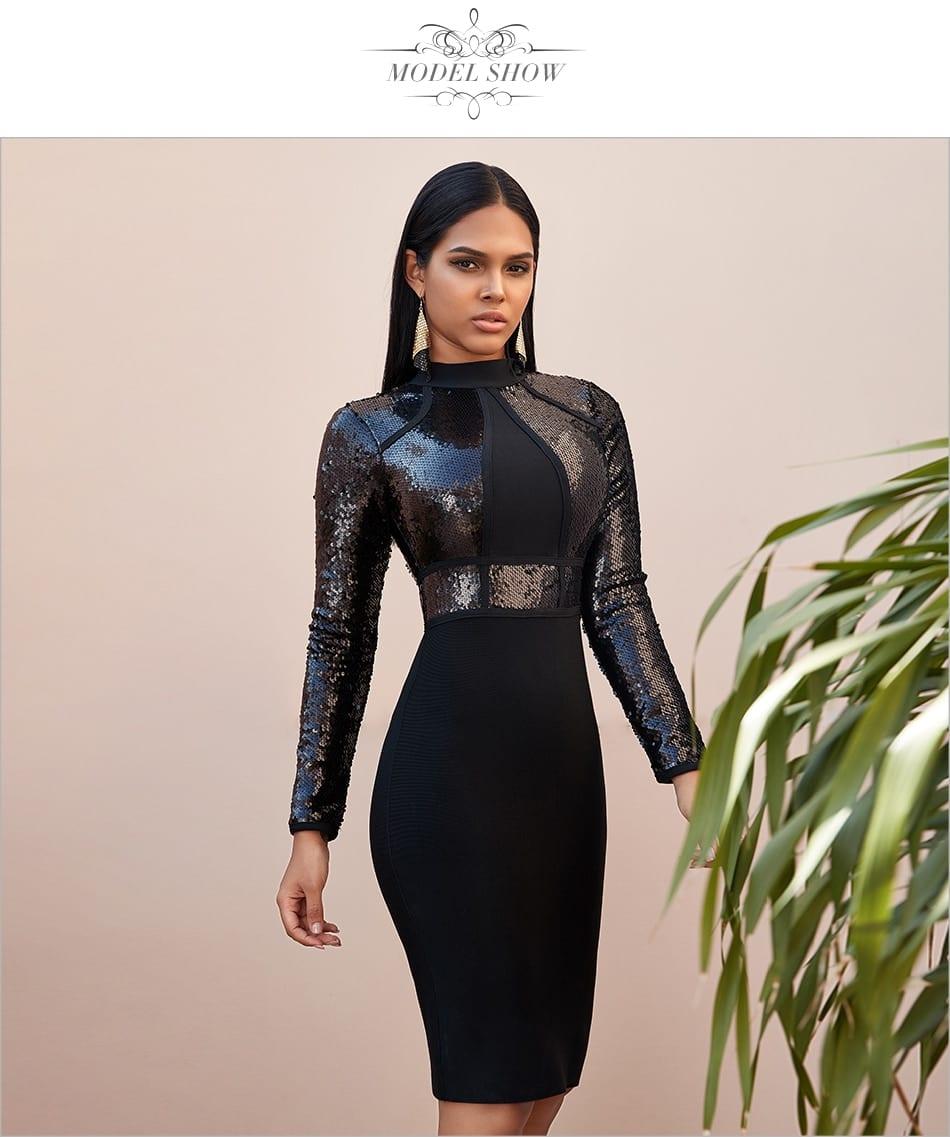 Sequined long sleeve bandage dress