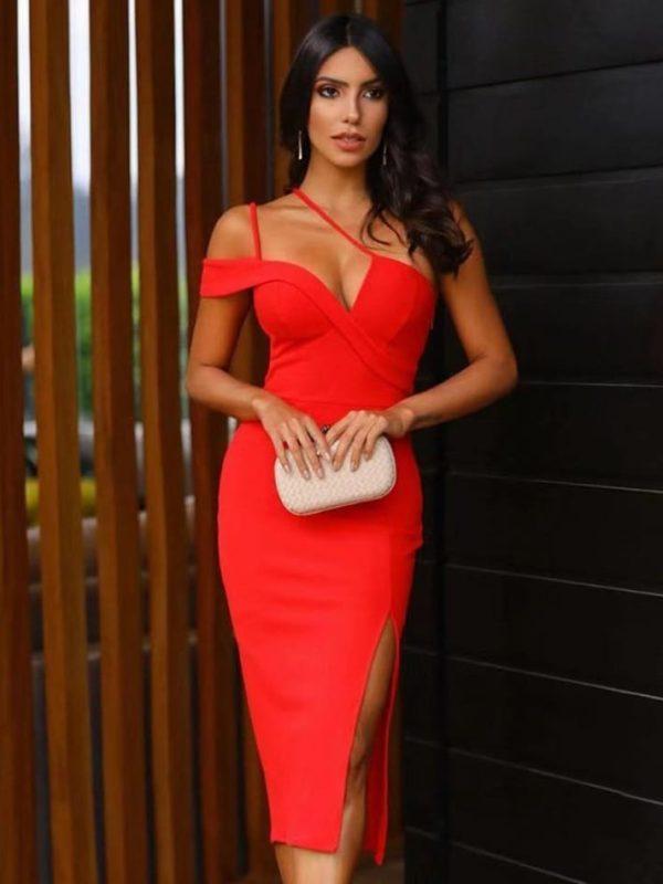 Red one shoulder sleeveless spaghetti strap bandage dress