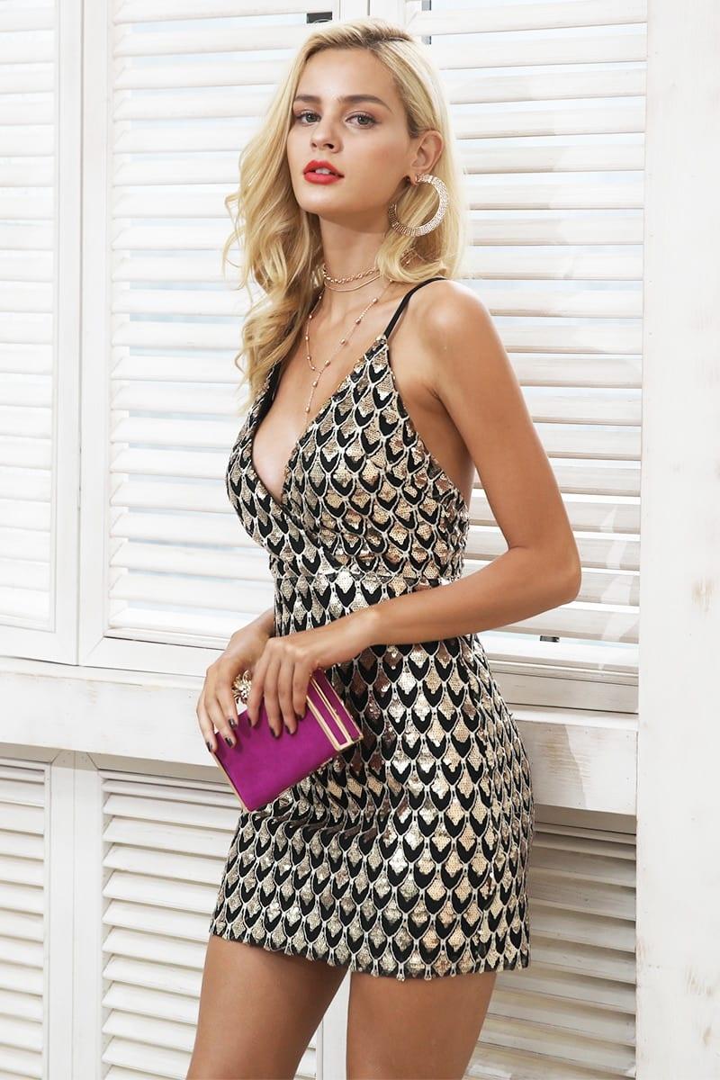 V neck backless zipper bodycon dress