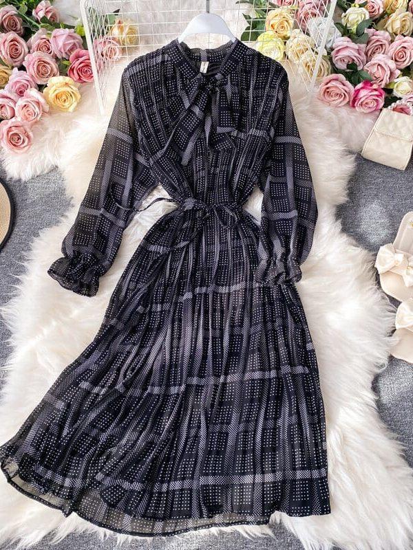 Elegant retro floral print bottom chiffon long midi pleated dress