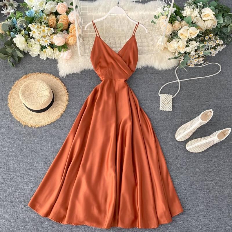V neck spaghetti strap backless dress