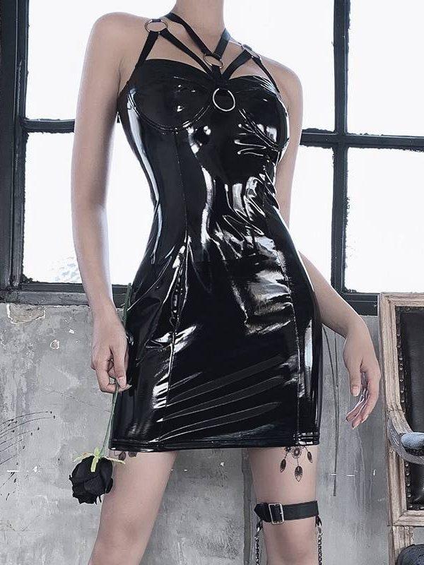 Gothic bandage halter hollow out black dress