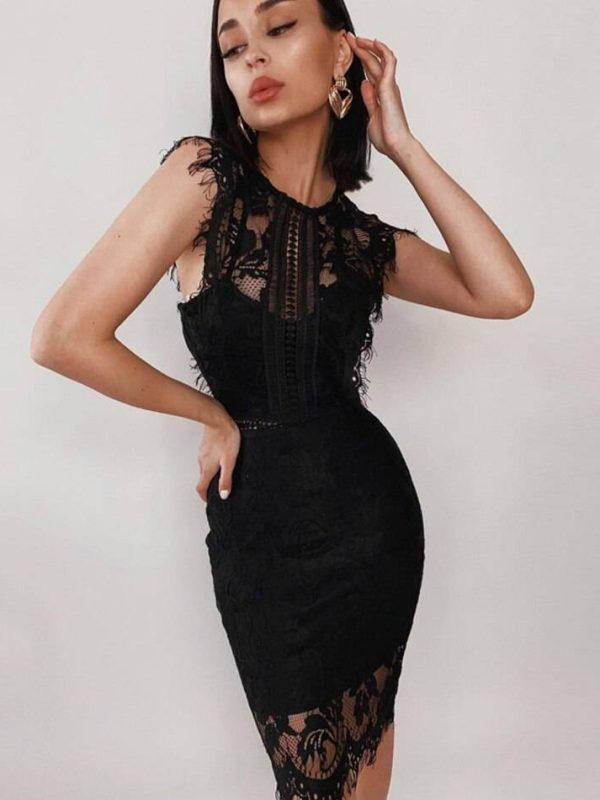 Tank black lace sleeveless hollow out bandage dress