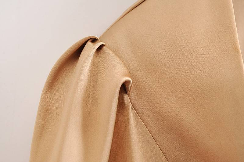 Elegant apricot ruched pleated slit backless high collar tie bow blouse shirt
