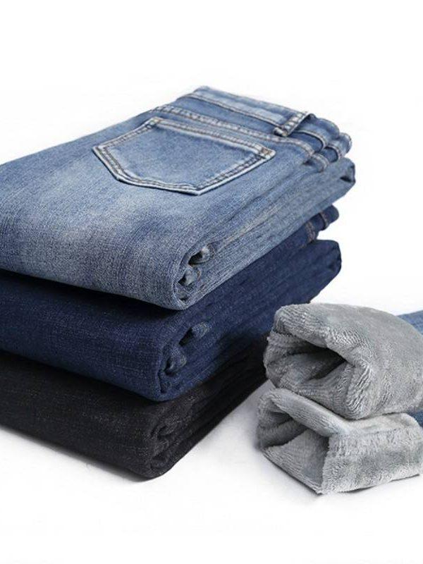 Winter velvet high waist skinny jeans