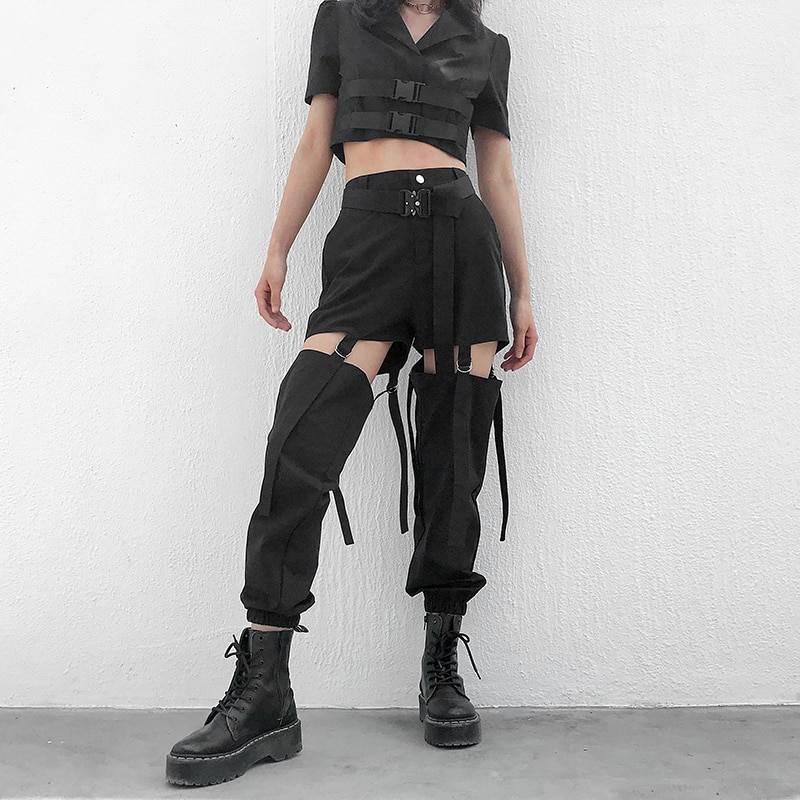 Hip hop high waist buckle hollow out cargo pants