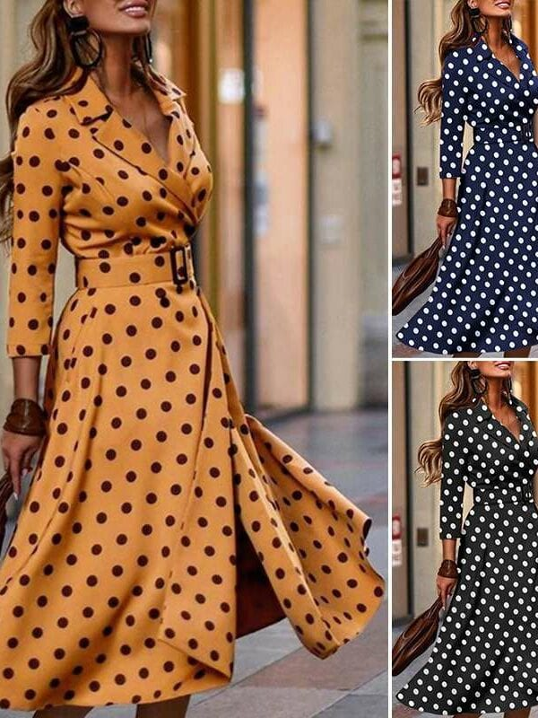 Polka dot belted lapel long sleeve midi office dress