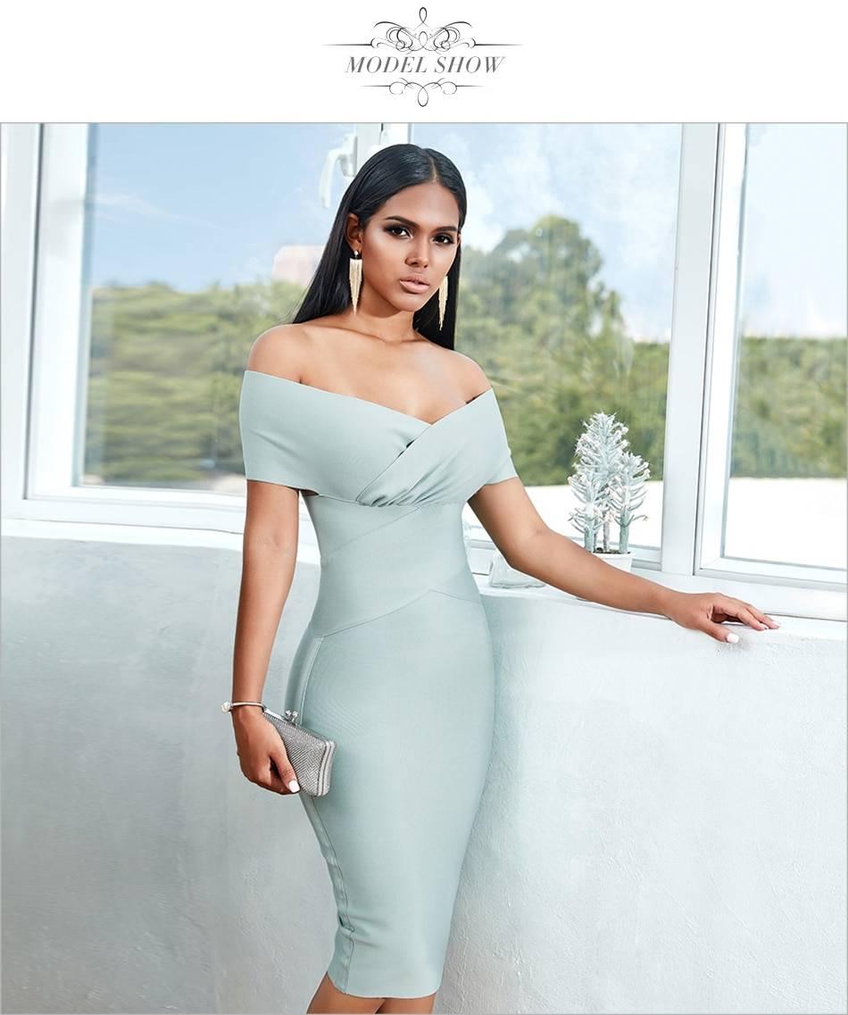 Elegant off shoulder midi bodycon dress
