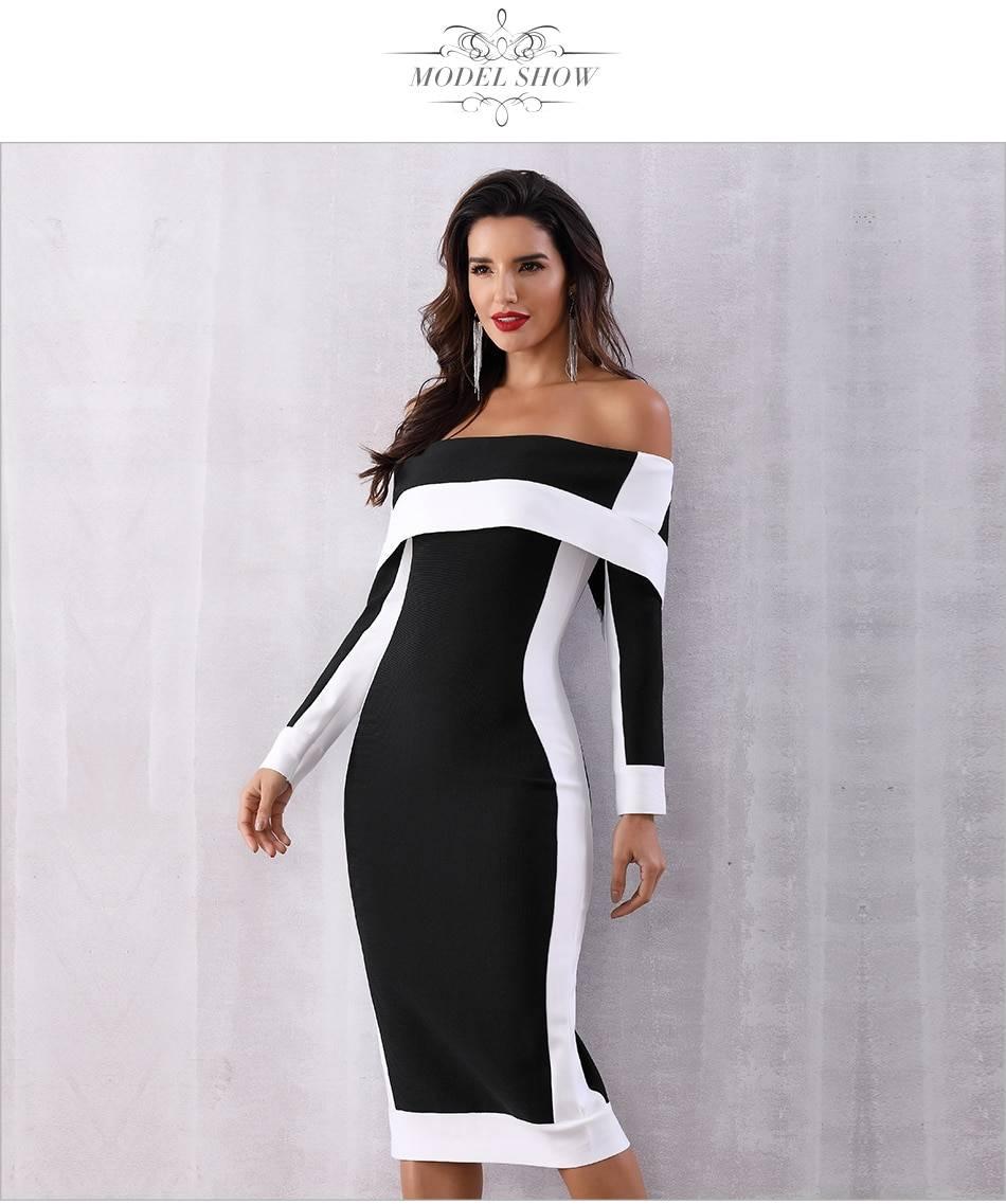 Off shoulder long sleeve bodycon bandage dress