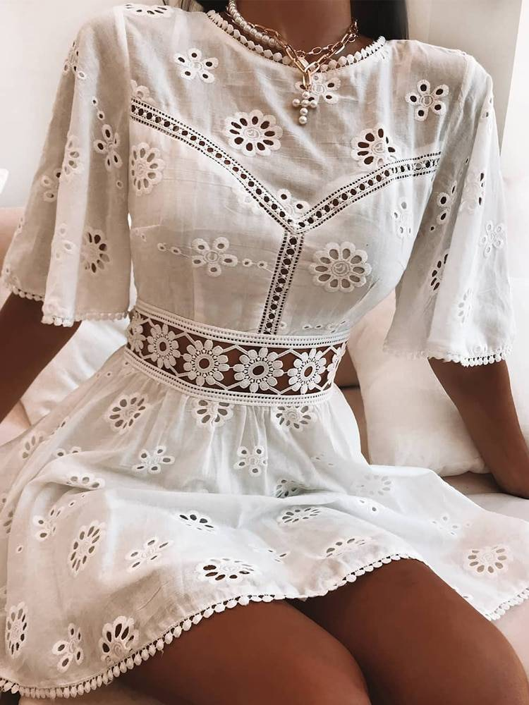 White high waist floral embroidery cotton backless mini dress