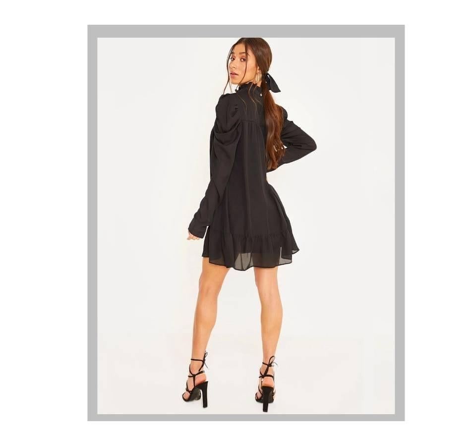 Puff sleeve small turtleneck ruffles a-line chiffon dress