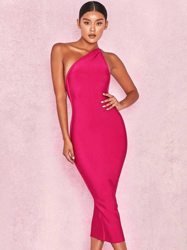 Hot pink one shoulder backless elastic elegant bandage dress
