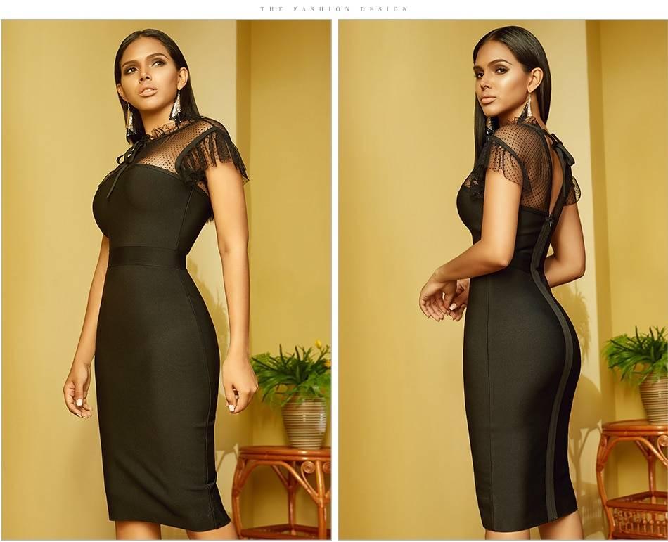 Black lace short sleeve ruffles bodycon bandage dress