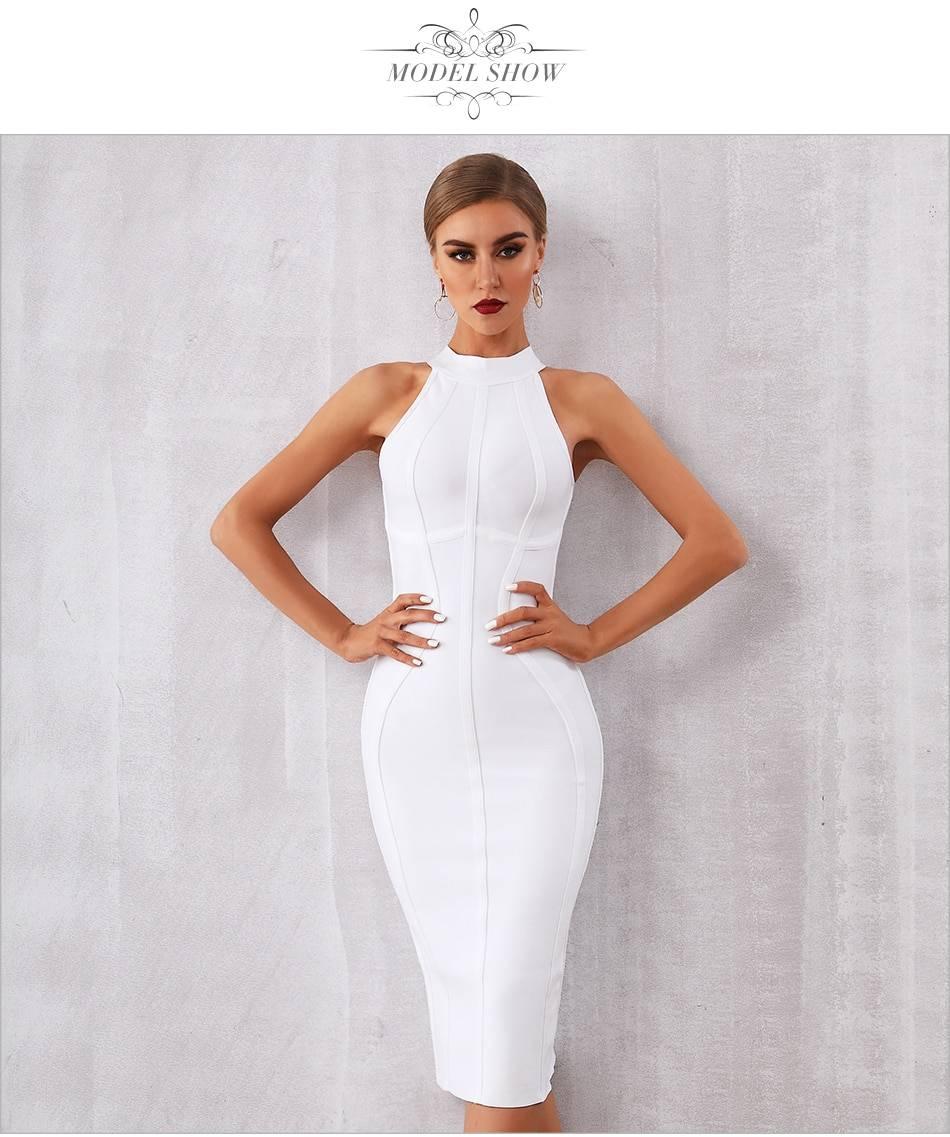 Elegant white tank sleeveless bodycon bandage dress