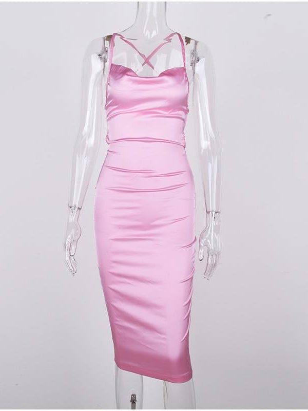 Satin backless lace up bodycon midi dress