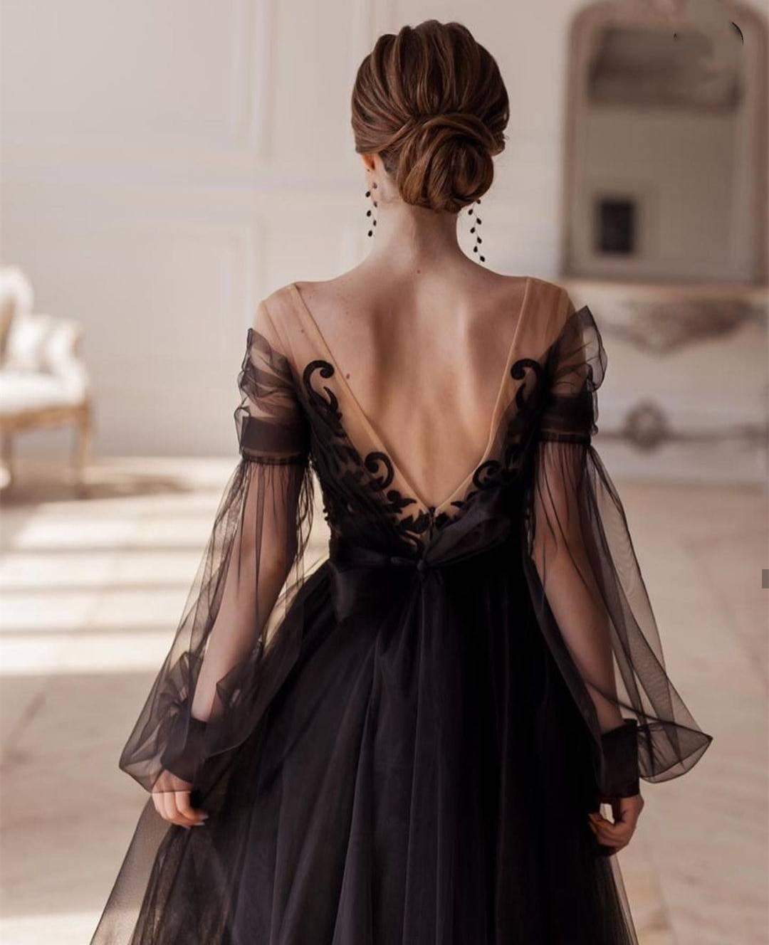 Elegant black illusion full sleeve v-neck lace appliques backless a-line ankle-length evening dress