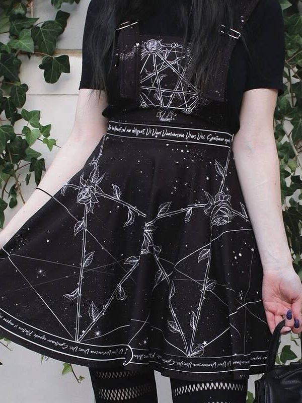 Vintage black print grunge high waist backless gothic punk dress