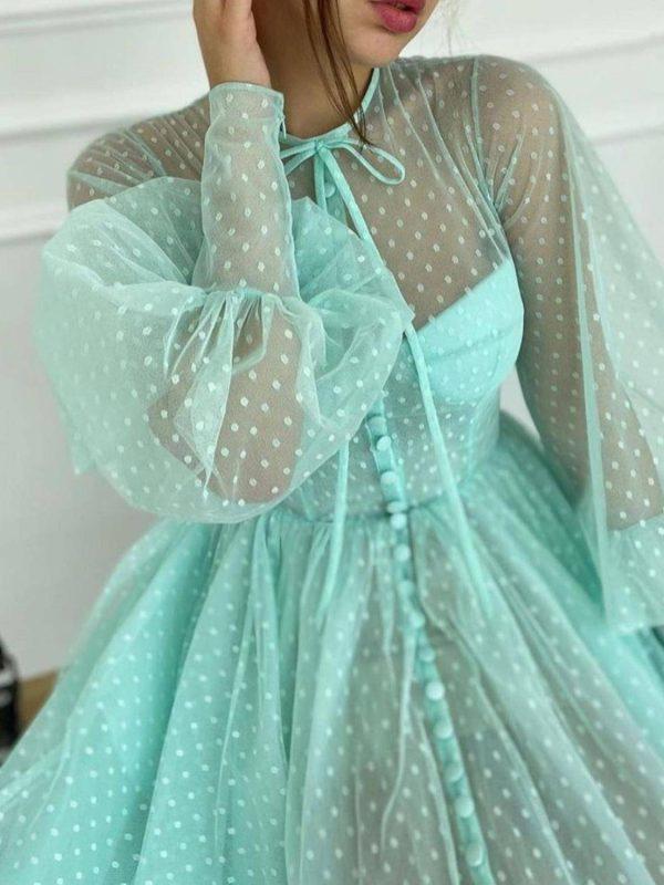 Mint green long lantern sleeve ankle length dress