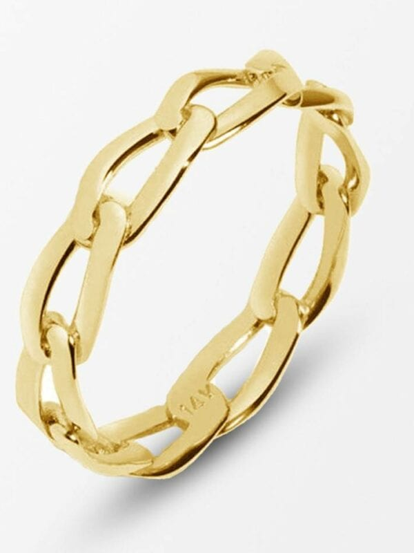 Silver gold plated chunky chain simple ring