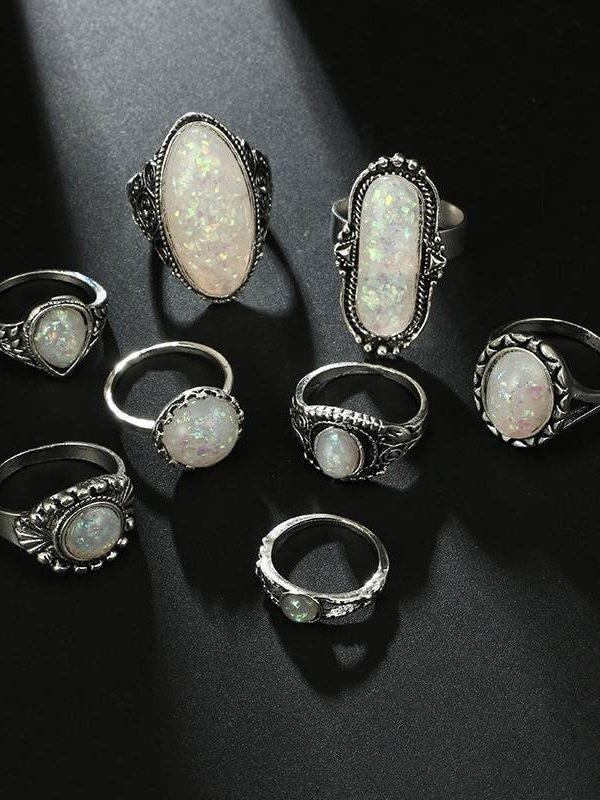 8pcs/set vintage antique silver color rings