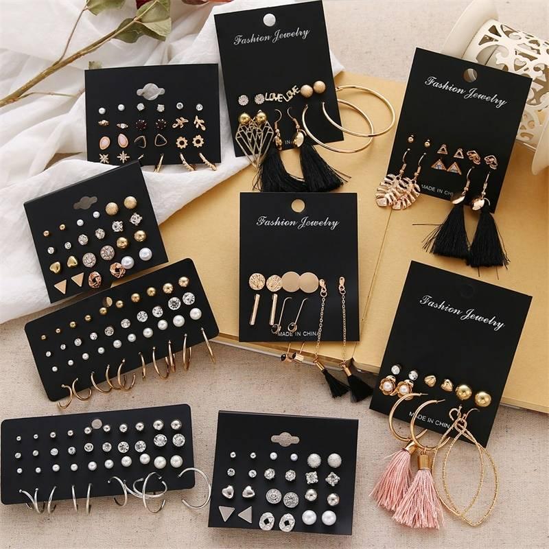 Geometric crystal heart stud earrings set