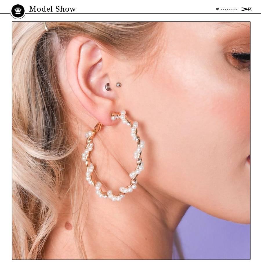 Gold color metal pearl hoop big circle statement earrings