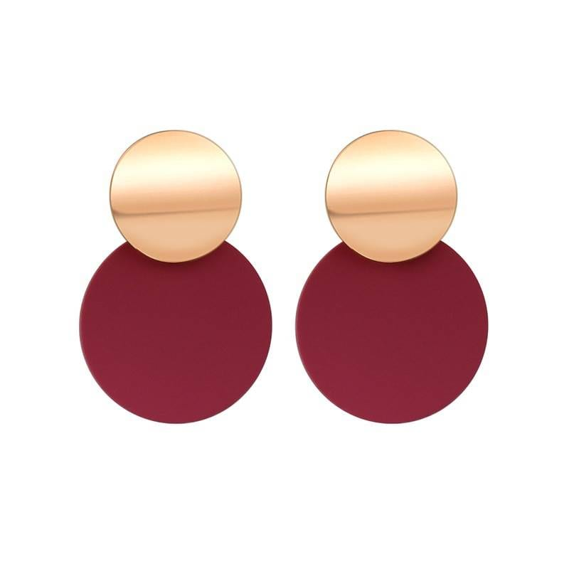 Geometric gold drop earrings