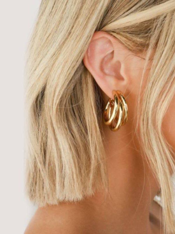 Geometry metal gold retro drop earrings