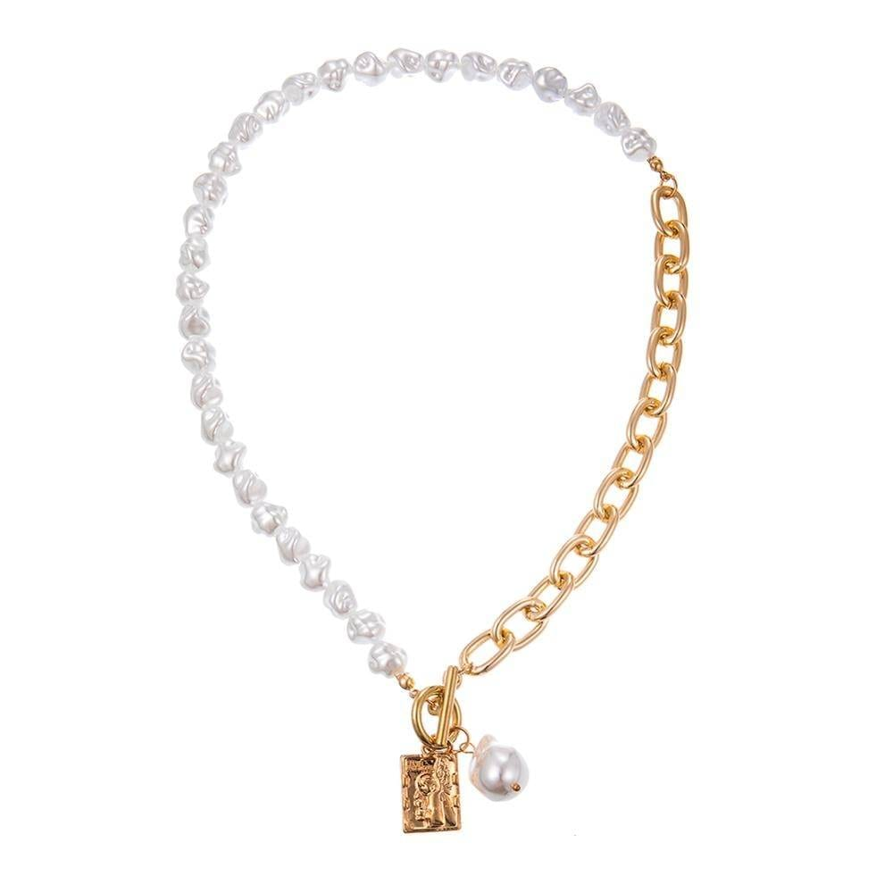 Vintage baroque irregular pearl lock chains necklace