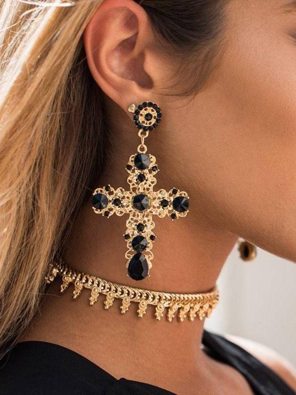 Vintage black crystal cross drop earrings