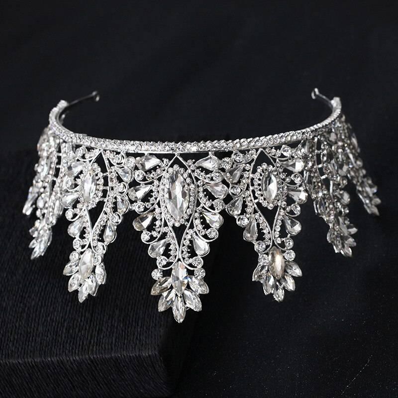 Big drop crystal rhinestone wedding diadem queen tiara crown headband