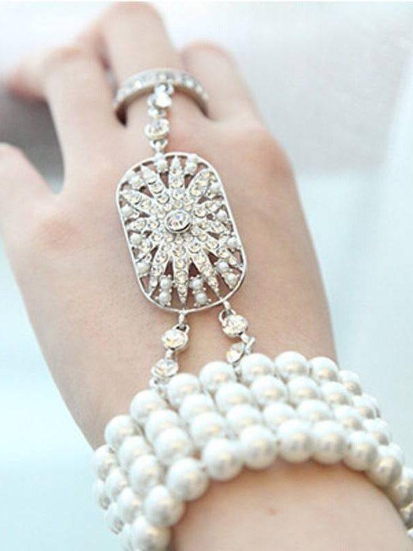 Great gatsby pearl bracelet bridal bridesmaid jewelry