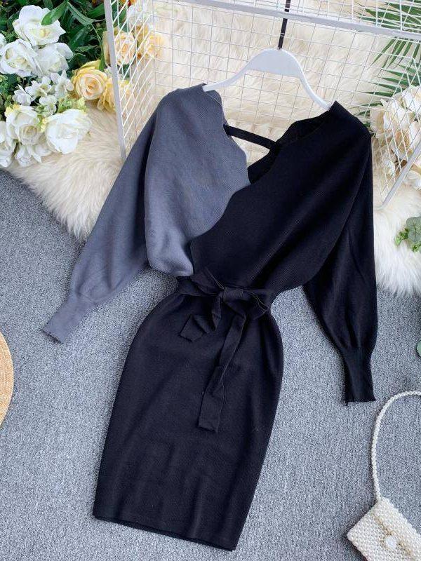 Elegant sashes v neck backless long sleeve knit sweater dress
