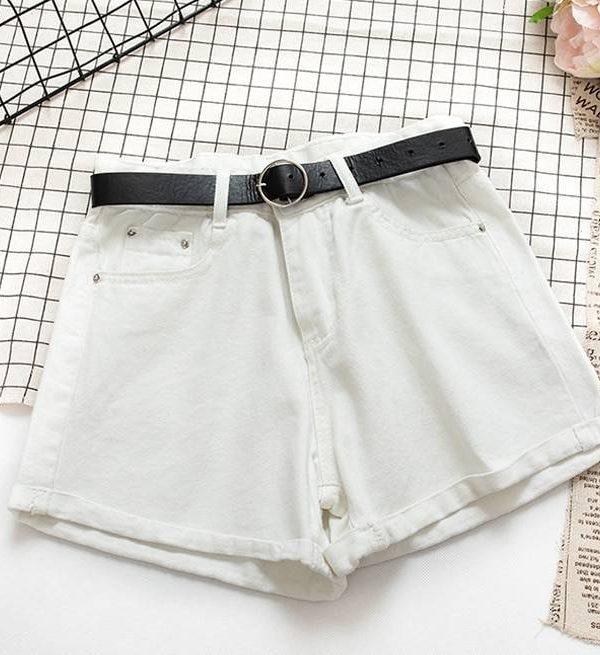 High waist bottom sashes denim shorts
