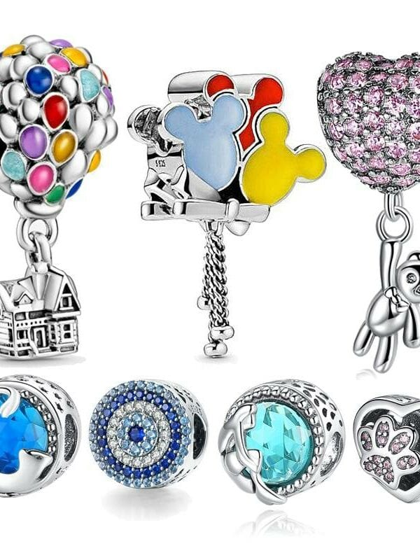 Silver ariel balloon charm bracelet