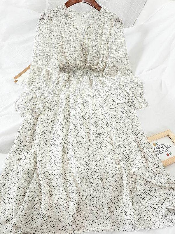 Elegant high waist v neck polka dot button puff sleeve chiffon dress