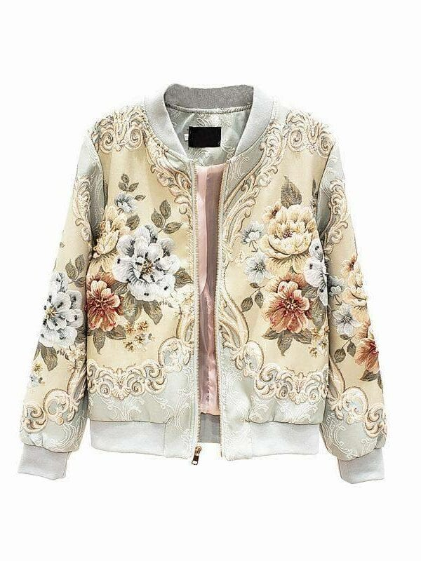 Vintage gold line jacquard beading coat jacket