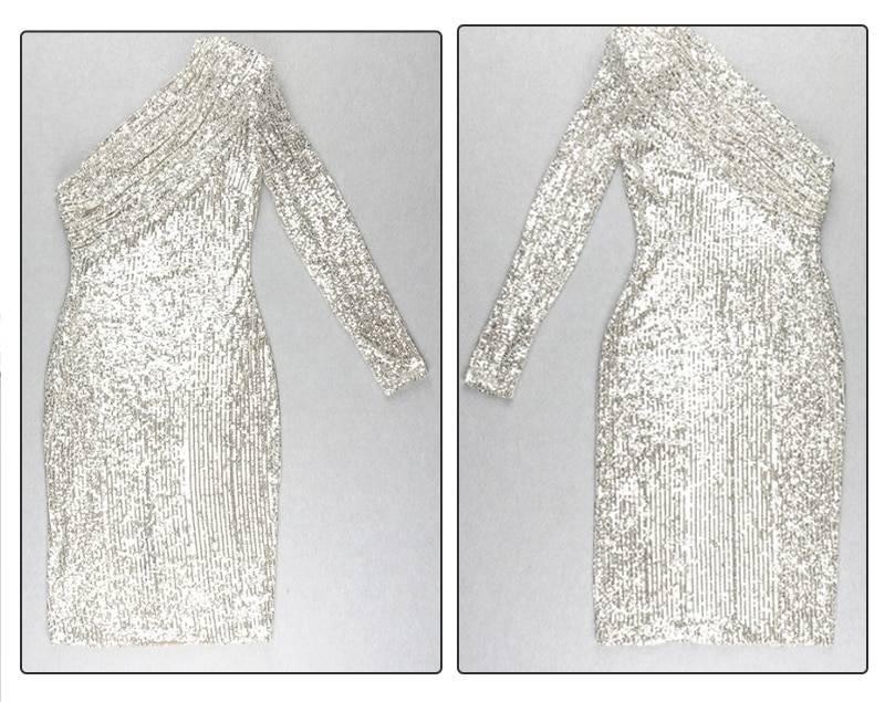 One shoulder sparkle sequin patchwork dress