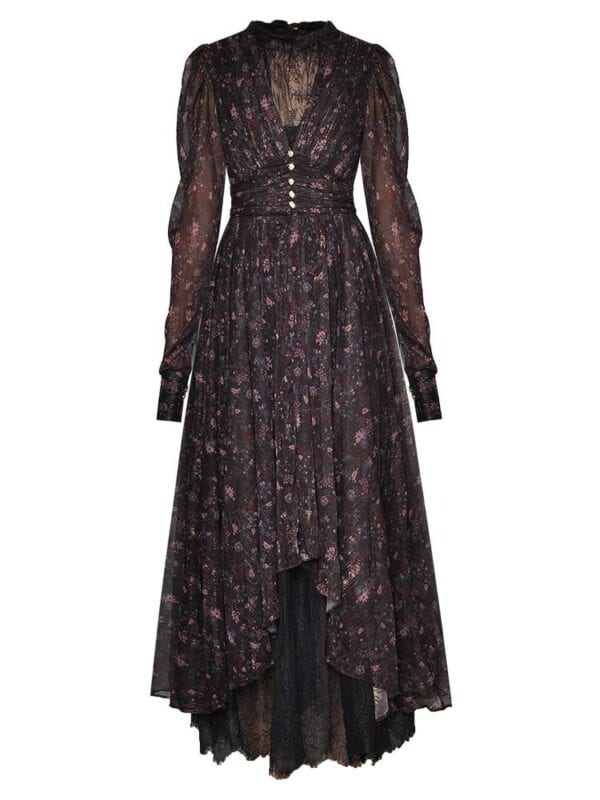 Long sleeve ruched floral-print lace asymmetrical dress