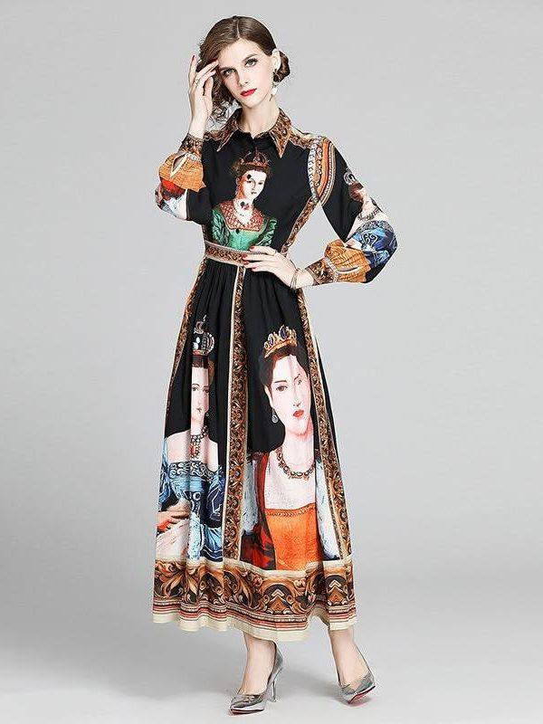 Vintage print long puff sleeve high waist a-line dress