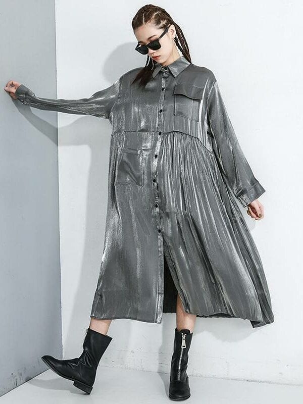Pleated split lapel long sleeve loose dress