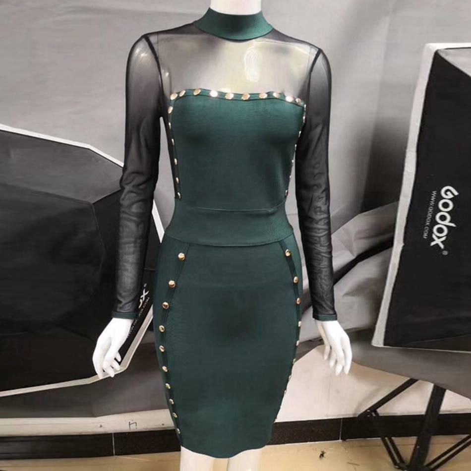Patchwork mesh full sleeve bandage dress